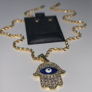 Jewelry - Dark blue Hamsa Hand with evil eye jewelry set